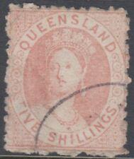 Stamp 1866 Queensland 5/- pale rose chalon queen Victoria SG55 no watermark