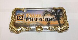 3 D DRAGON CHROME GOLD METAL AUTO CAR LICENSE PLATE FRAME  LPF-7402