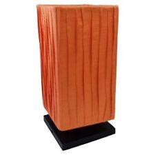 Lampe base carrée - tissu drapé 30 cm Orange