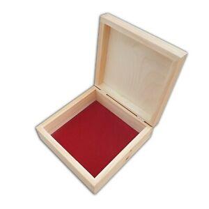 WOODEN BOX 16X16X6 cm WHIT VELVET ON BOTTOM FOR DECOUPAGE