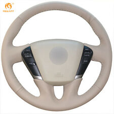 Beige Leather Steering Wheel Cover for Nissan Teana 2008-2012 Murano 2009-2014