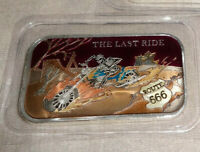 THE LAST RIDE Enameled 1oz .999 Silver Art Bar CMG Mint Motorcycle