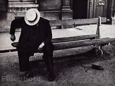 1932/68 Vintage 8x10 SLEEPING MAN CITY BENCH Paris France Photo Gravure BRASSAI