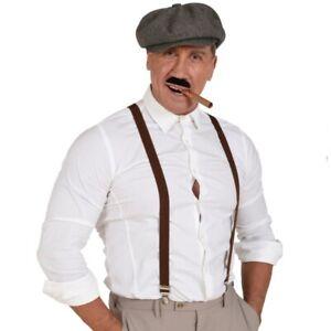 20er Jahre Herren Kostüm Set - Schiebermütze Hosenträger Zigarre Schnurrbart