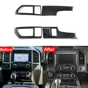 Carbon Fiber Console Middle Air Vent Outlet Covers For Ford F150 F-150 2015-2019