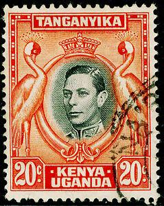 KENYA UGANDA TANGANYIKA  SG139a, 20c black & orange, USED. PERF 14