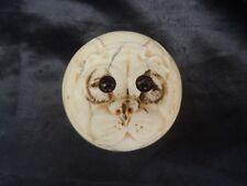 Sculpture chien bouledogue yeux sulfure pommeau canne sculpte bulldog epoque 19e