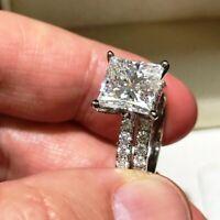 3 Ct Princess Diamond Engagement Ring Wedding Band Bridal Set White Gold Finish