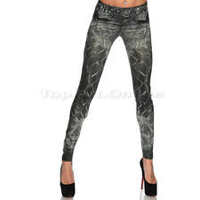 Femme Leggings Jean Pantalons Extensible Collant moulant Jeggings Slim Stretch