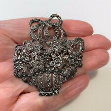 Large Vintage Sterling Silver And Marcasite Basket Of Flowers Brooch / Pin