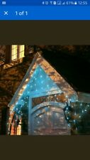 300 LED Christmas Icicle Lights-Blue-Multi Function-xmas-Outside or Inside-B/NEW