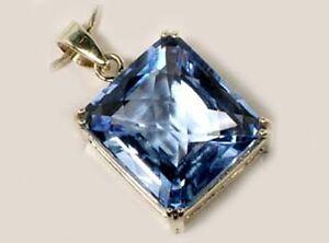 Blue Topaz Pendant 31ct Medieval Saxon Travel Fire Danger Falcon Engraved Amulet