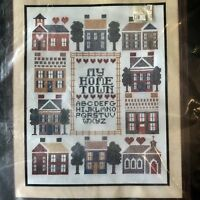 Bucilla 49965 MY HOME TOWN Stamped Cross Stitch Kit, New Old Stock