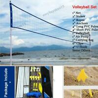 Pro Adjustable Beach Volleyball Net System Portable Set &Carry Bag Outdoor