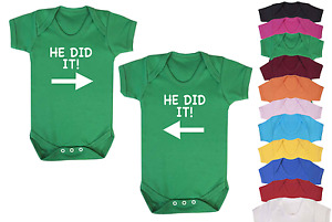 He Did It Novelty Twins Baby Vests Babygrow Baby Twin Gifts Set