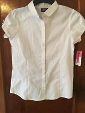 Izod Approved Schoolwear Girls White Short Sleeve Button Up Size Large (14/16)