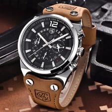 Benyar Herren Armband Uhr Chronograph Schwarz Braun Silber Farben Datumsanzeige