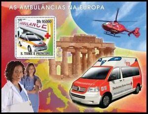 Sao Tome 2008 MNH SS, Europe Ambulance, Red Cross, Helicopter, Stethoscope Nurse