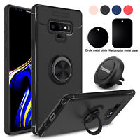 For Samsung Galaxy Note 9 Ring Holder Stand Rubber Case With Magnetic Vent Mount