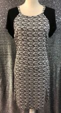 Halogen Womens Sz S Black White Geometric Print Tie Back Short Sleeve Dress