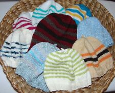 JOB LOT 9 X HAND KNITTED HATS COTTON/ BABY WOOL KIDS UNISEX - NEW - 1 to 5 years