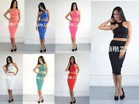 new womens ladies sexy 2 piece midriff crop top skirt midi celeb bodycon dress