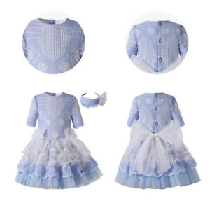 Princess Girl Embroidered Dress Formal Party Lace Dresses Summer Short Sleeve US