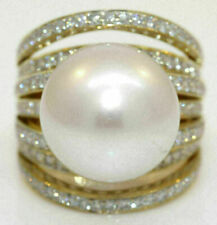 STUNNING 18K YELLOW GOLD RING 'NINI' DIAMONDS & SOUTH SEA PEARL! 19.6 GRAMS #O41