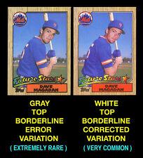 1987 Topps #512 DAVE MAGADAN ROOKIE CARD (Mets) Gray Border Area ERROR VARIATION