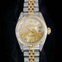 Rolex Datejust Ladies 18K Yellow Gold & Steel Watch FACTORY Diamond Dial 69173