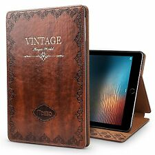 Apple iPad Pro 10.5 Case Vintage Book Style Stand PU Leather Smart Cover Brown