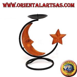Porta candele in ferro con luna e stella in legno