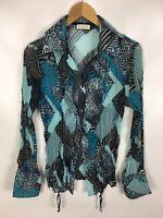 BONITA Damen Bluse, Blau, Grau, leicht transparent, Größe 40