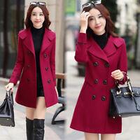 Winter Women Warm Woolen Coat Jacket Trench Coat Parka Overcoat Outwear Size