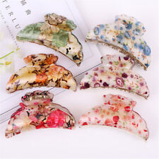 Woman Dark Blue Florals Pattern Plastic Hair Claw Clip Clamp 6 Colors Random