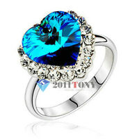 Titanic Heart Of The Ocean Wedding Ring 18K White Gold Plated Austrian crystal