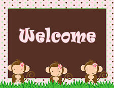 Birthday Party Baby Girl Shower Welcome Sign Monkey Pink A1