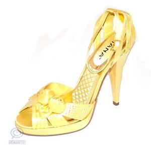 Womens Sexy Shoes Size 8.5 AU Gold Open Toe Sandal Party Pump Platform High Heel