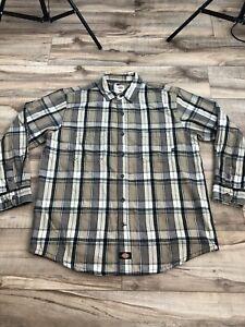 Dickies Flannel Shirt Size XL Tan Grey Plaid Button Down Long Sleeve Men's