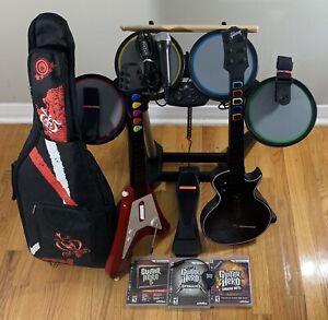 PS3 Guitar Hero Bundle, Drums, Guitars, Mic, Games