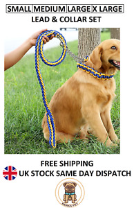Nylon Braided Traction Rope Lead Collar Set Martingale Chain Collar and Lead Set