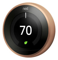CERTIFIED: 1 Left - Copper Nest Learning Thermostat 3rd Generation w/BaseT3021US