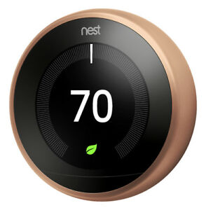 Google Nest Learning Smart Thermostat 3rd Generation Copper T3021US New