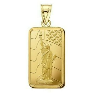 1 Gram Pamp Suisse .999 Liberty Bar Pendant 16MMX9.4MM Encased in 14k Gold