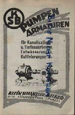 FRANKENTHAL, Werbung 1925, Klein, Schanzlin & Becker Pumpen Armaturen Kanalisati