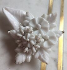 1940s Miriam Haskell White Pressed Glass Beaded Fur Clip Floral w/ Leaves