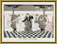 Framed George Barbier Fashion plate Giclee Canvas Print Paintings Poster
