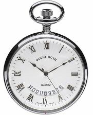 Pocket Watch Calendar Chrome Plated Open Face With Quartz Movement