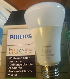 Philips Hue White & Color Ambiance A19 Bluetooth Smart Light Bulb. New w/o Box