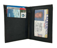 Black Men's Leather Thin Bifold Wallet Credit Cards Holder